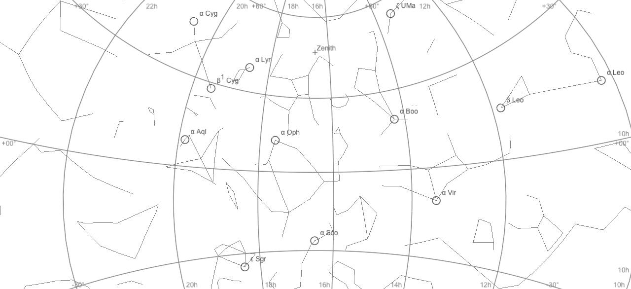 Einige Alignment-Sterne meines Argo Navis Koordinatenrechners in SkySafari.