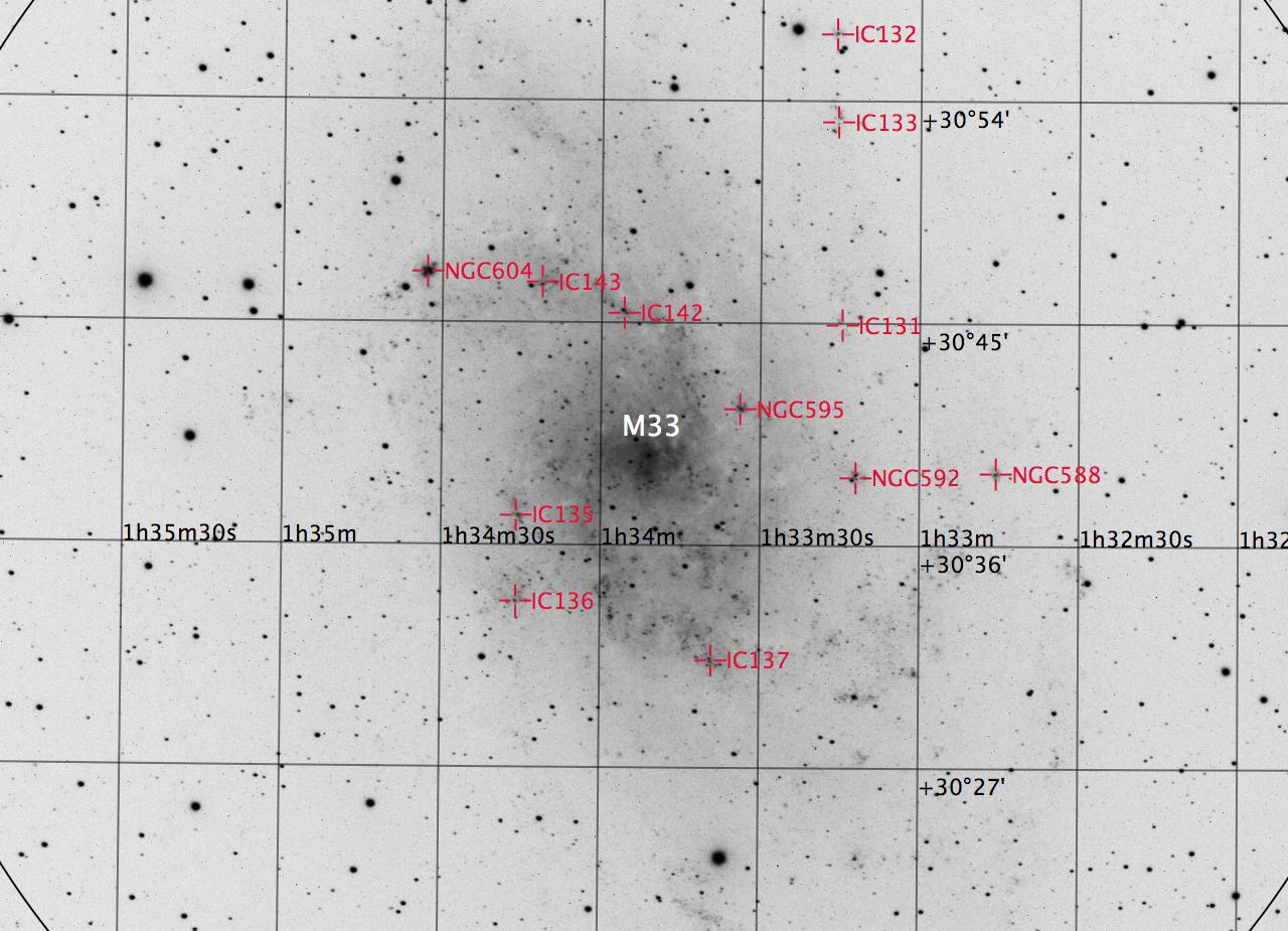 M33 aufgenommen mit einem Takahashi TOA-150 Refraktor und einer Finger Lake Instrumentation FLI-ML8300c CCD Kamera. Norden ist oben, Osten links.