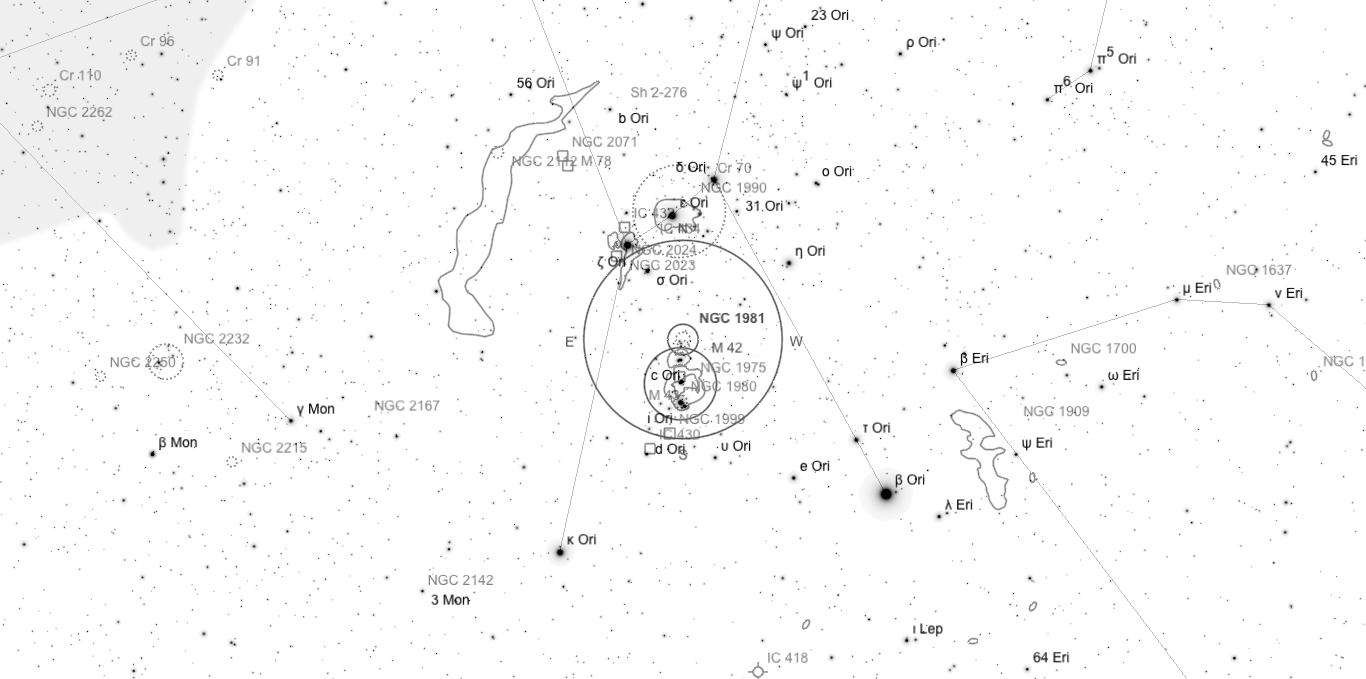Aufsuchkarte für NGC 1981. Die Karte deckt einen Bereich von etwa 34° x 17° ab. Der eingezeichnete Kreis im Zentrum hat einen Durchmesser von 5°. Es sind Sterne bis zu einer Grenzgröße von +9,0 mag eingezeichnet.