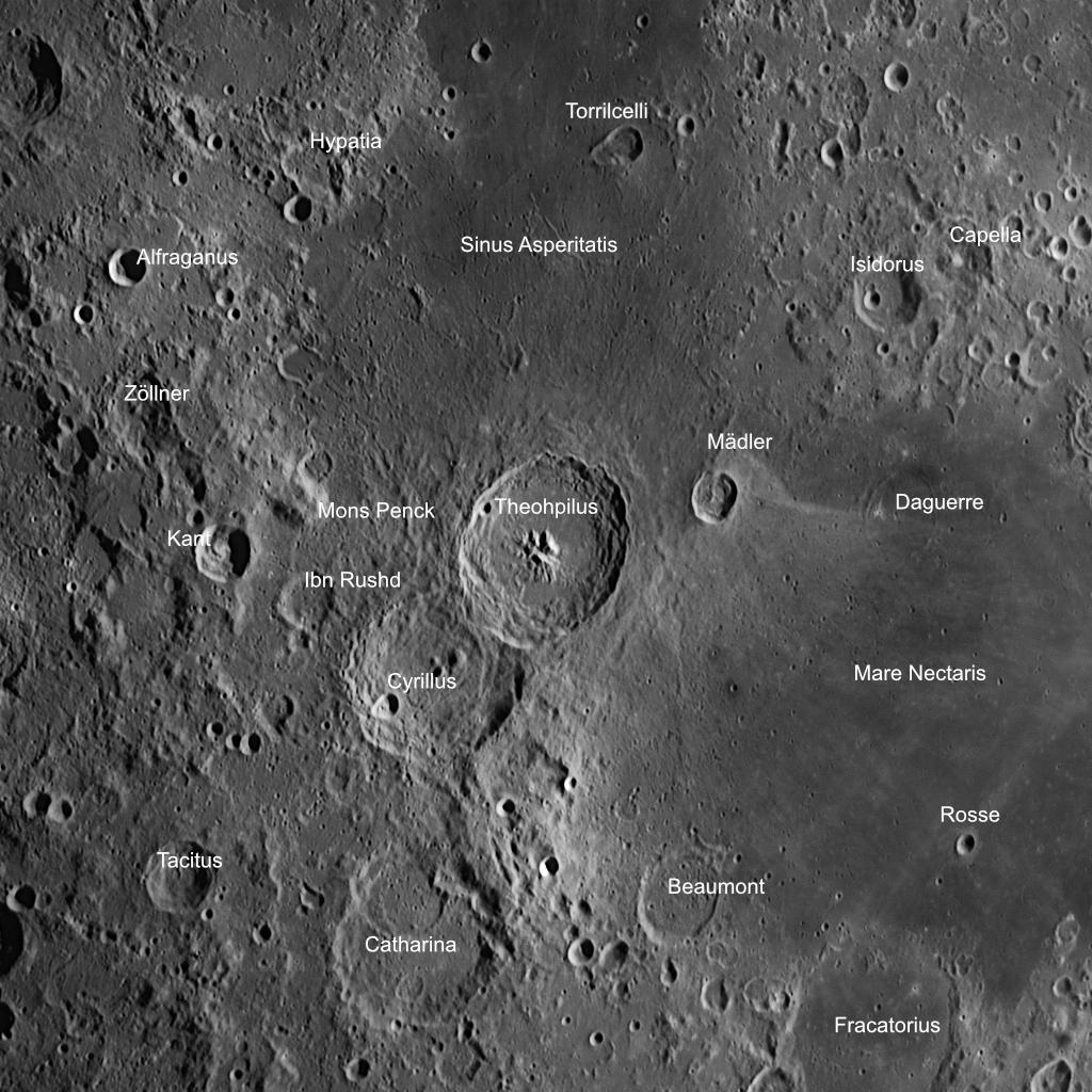 DIe Umgebung des Krater Theopilus mit einigen Anmerkungen. Aufnahmedaten wie oben.