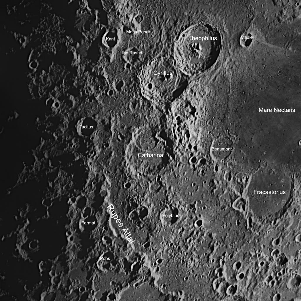 DIe Umgebung des Krater Catharina mit einigen Anmerkungen. Aufnahmedaten wie oben.