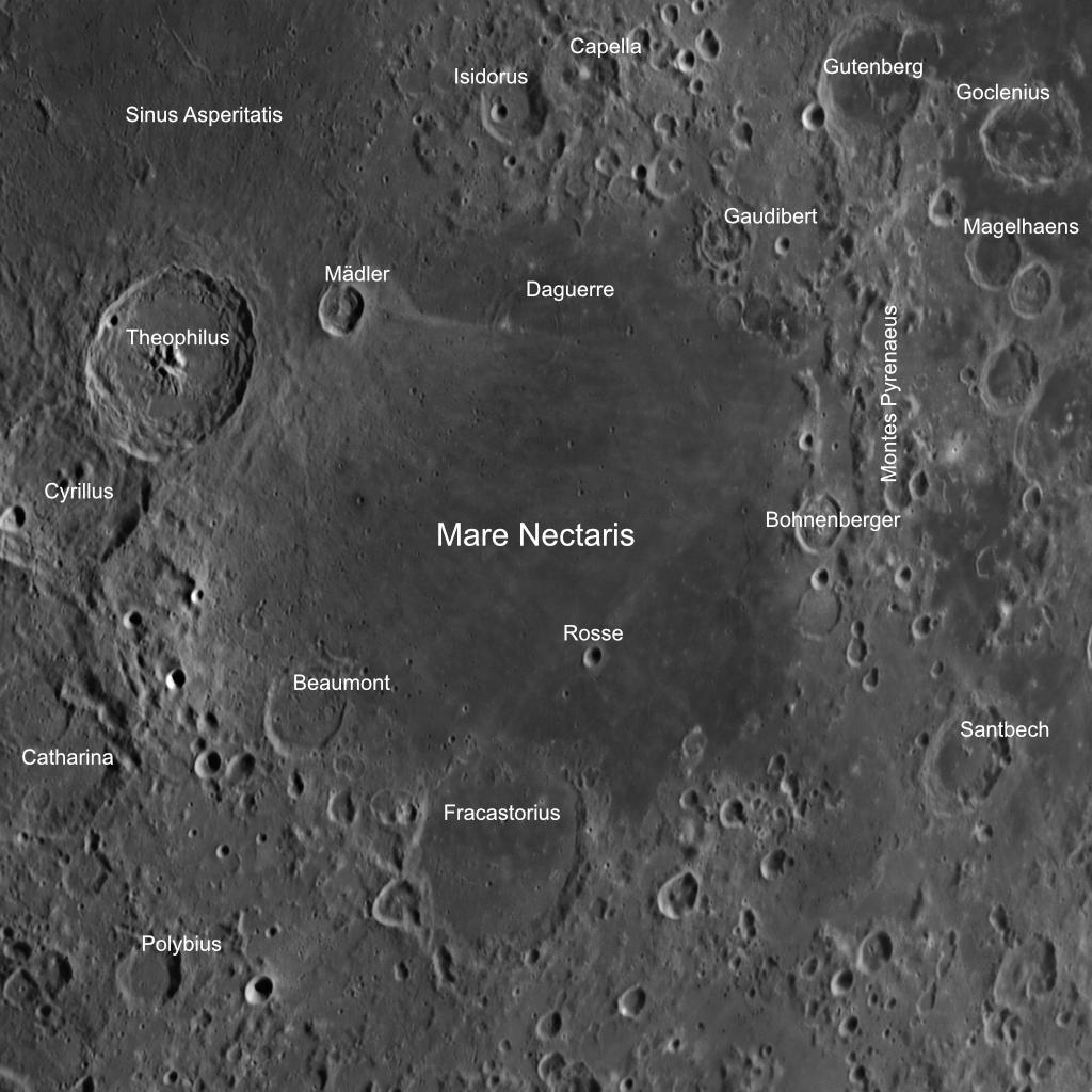 DIe Umgebung des Mare Nectaris mit einigen Anmerkungen. Aufnahmedaten wie oben.