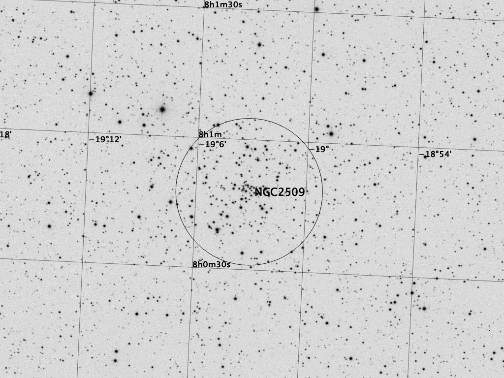 NGC 2509 mit einigen Anmerkungen. Aufnahmedaten wie oben.