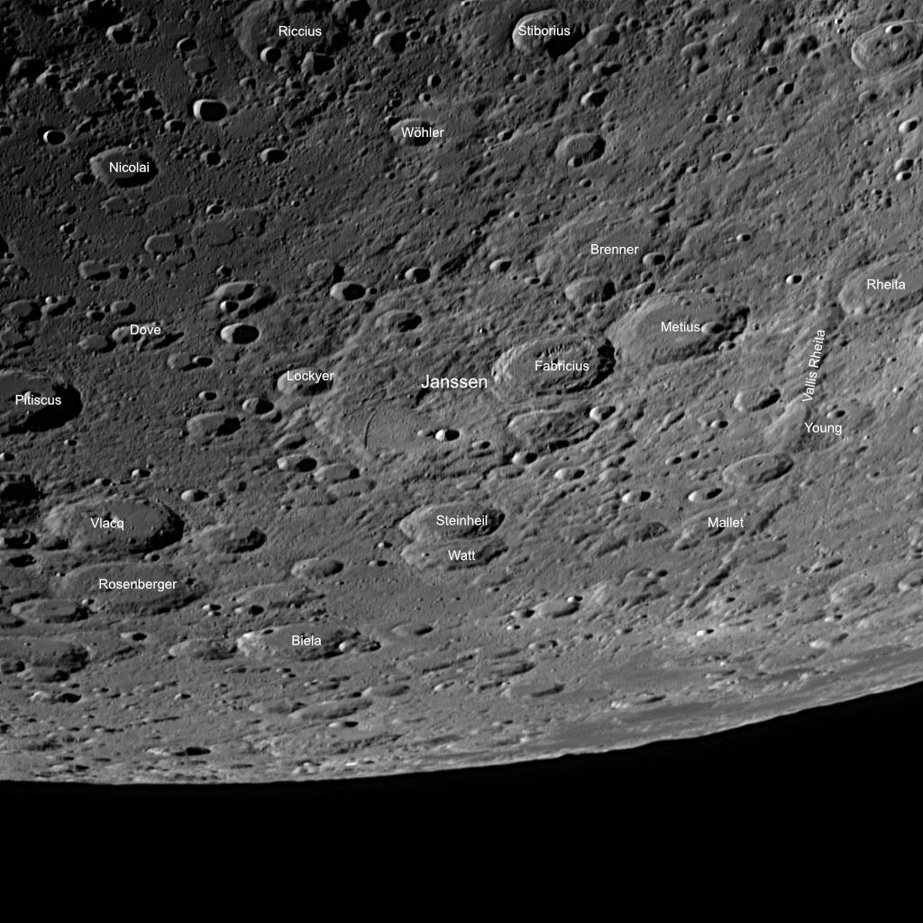 Mondkrater Janssen (im Zentrum) mit Anmerkungen. Aufnahmedaten we oben.