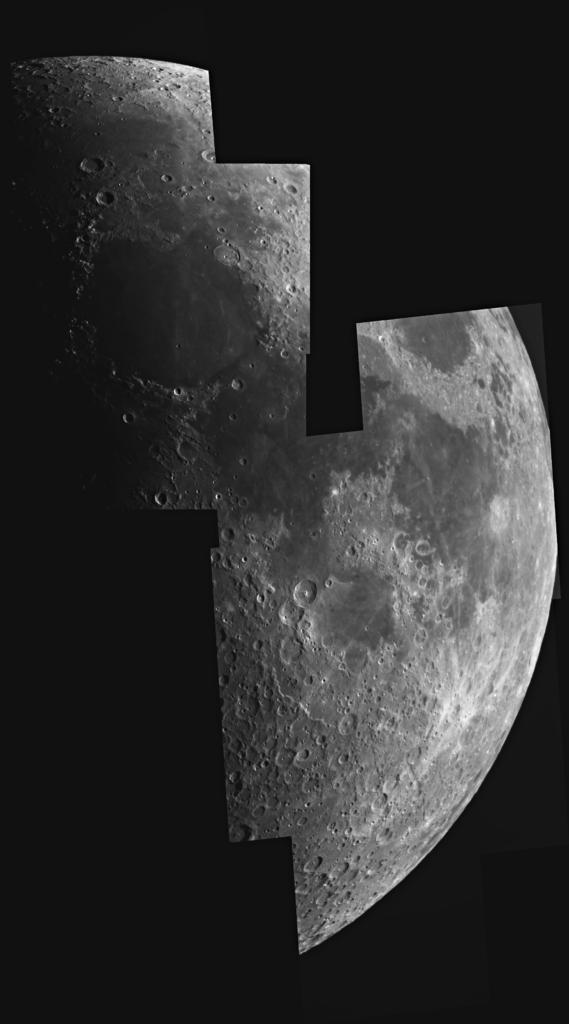 Mondmosaik aufgenommen mit einem Orion OMC 200 Maksutov Cassegrain Teleskop und einer ZWO ASI 174 MM Kamera. Komposition von 7 Einzelaufnahmen.
